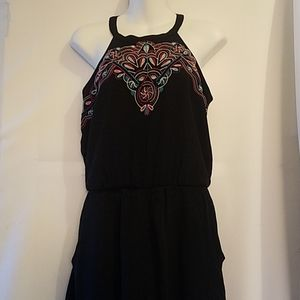 XHILARATION BLACK ROMPER WITH EMBROIDERED DETAIL
